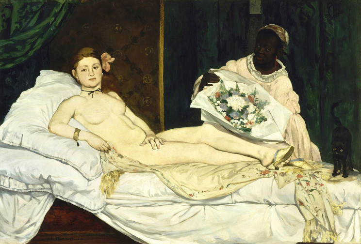Édouard Manet (French, 1832-1883) Olympia (1863) Oil on canvas. 51 1:2 by 79 in. Musée d'Orsay.