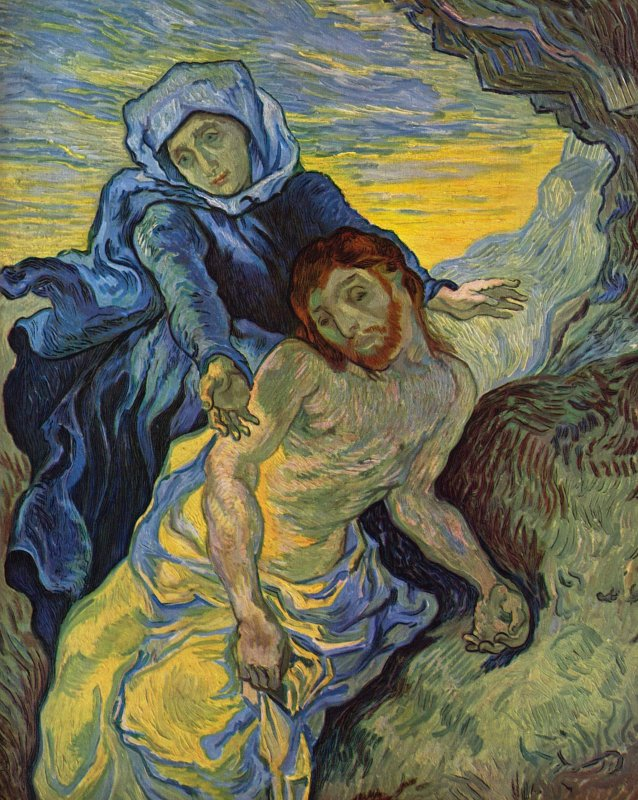 Vincent Van Gogh (Dutch,  1853 - 1890) Pietà (c. 1880) Oil on canvas. 73 x 60 cm. Vatican Museums, Vatican City.