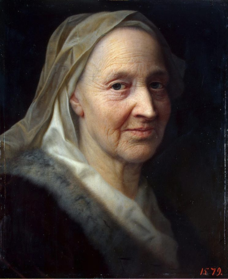 Balthasar Denner (German, 1685-1749) Portrait of an Old Woman (c. 1725) Oil on copper. 14 5/8 x 12 3/8 in. Hermitage Museum.