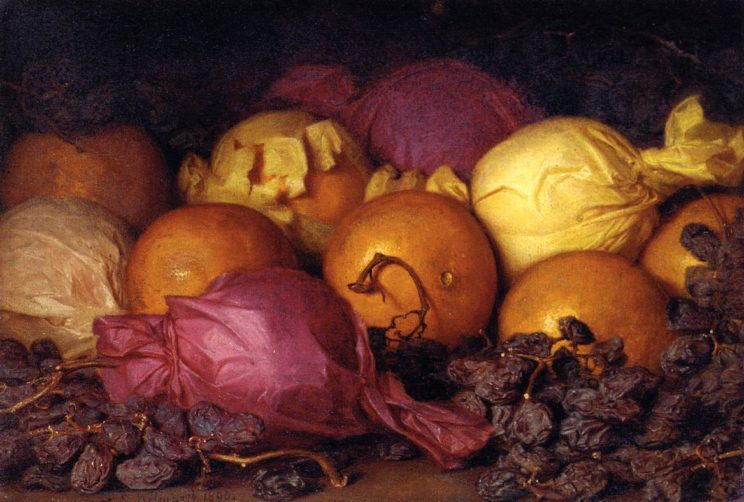 Lemuel Everett Wilmarth (American, 1835-1918) Still life with oranges and raisins (1890) Oil on canvas. 9 1:8 x 13 1:8 in. Private collection.