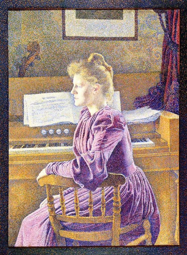 Theo van Rysselberghe (Belgian, 1862-1926) Maria Sethe at the Harmonium (1891) Oil on canvas. 46 1/2 x 33 1/3 in. Koninklijk Museum, Antwerp.